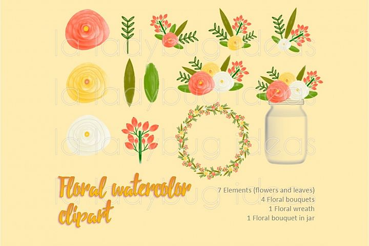 Orange and yellow floral watercolor clip art collection.