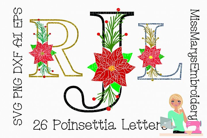 Poinsettia Letters SVG | Poinsettia| Poinsettia Monogram