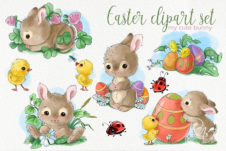 Cute Easter baby bunnies, eggs, bugs and chicks clipart pack