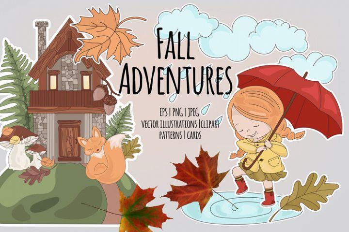 FALL ADVENTURES Autumn Season Cartoon Vector Illustration