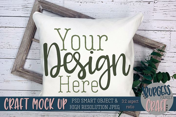 Pillow greenery Craft mock up |PSD & JPEG