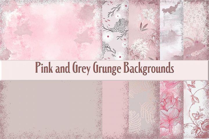 Printable Pink Grunge Backgrounds. 10 Sheets JPEG and PDF