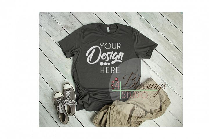Mens Shirt Asphalt Gray T Shirt Bella Canvas Mockup JPG
