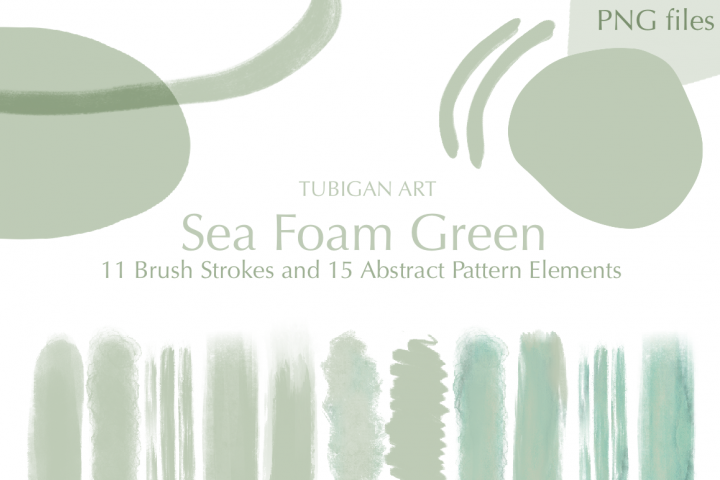 26 Sea Foam Green Brush Strokes and Abstract Pattern Element