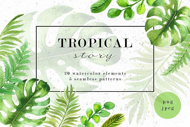 Tropical story. Watercolor clipart