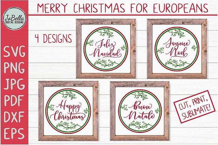 European Christmas SVG Bundle, Sublimation PNGs and Prints