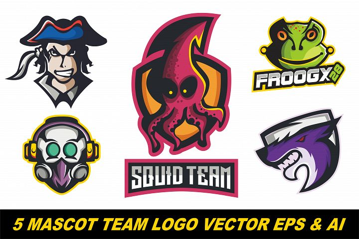 5 Mascot logo team vector illustration