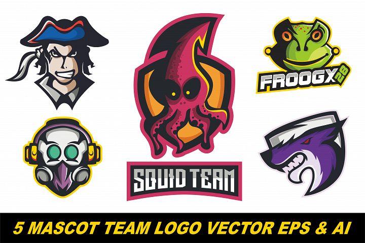 5 Mascot logo team vector illustration