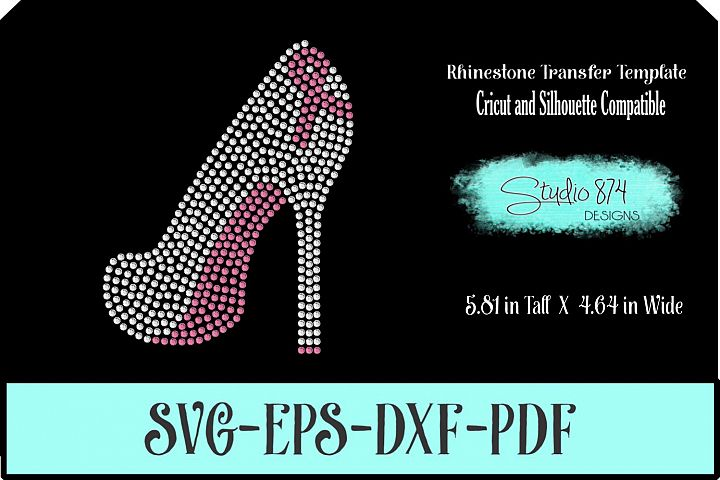 Breast Cancer Awareness Shoe Rhinestone SVG Template R1