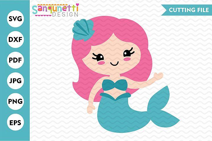 Mermaid girl SVG, summer beach and ocean cutting file