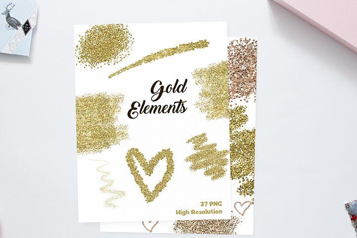 Gold Elements Clip Art - Golden Fairy Dust Glitter Heart Brush Line - 37 PNG Digital for Scrapbooking