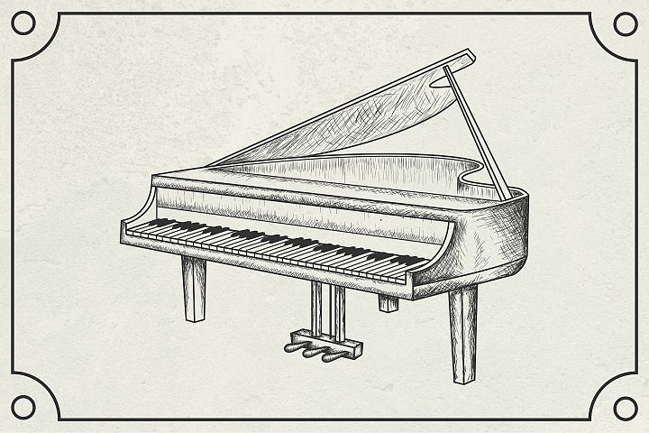 hand drawn grand piano vector illustration