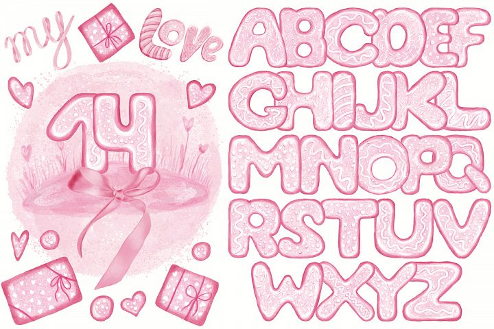 Pink Lovely Font Set. Valentines Day. Food Letters Numbers