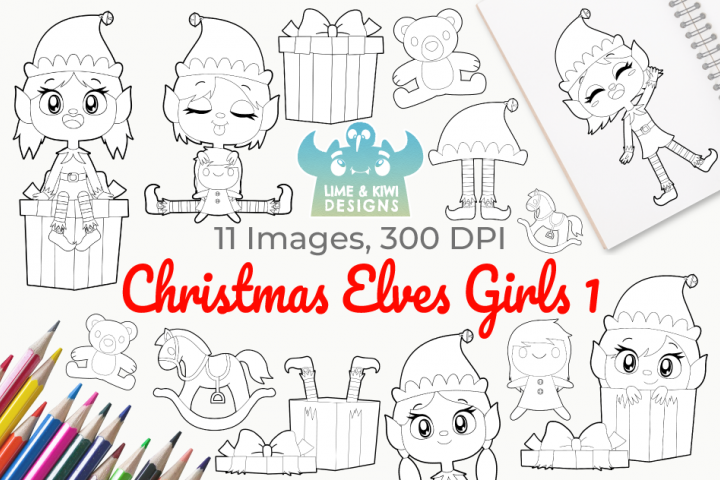 Christmas Elves Girls 1 Digital Stamps