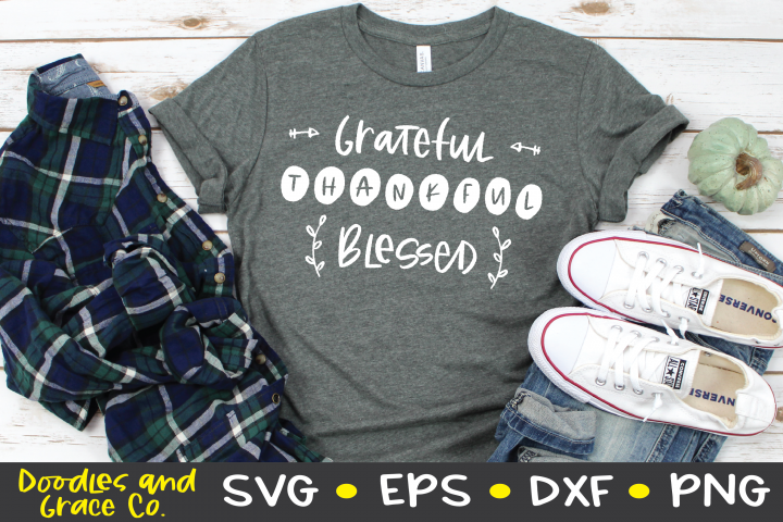 Grateful Thankful Blessed SVG - Thanksgiving SVG