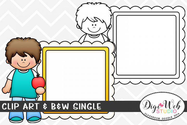 Clip Art & B&W Single - School Boy w/ Apple & Message Board
