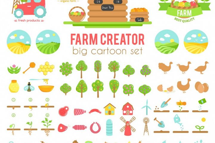 Farm creator. Big set of vector farming elements