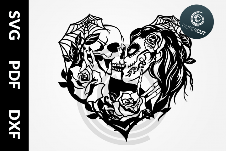 SVG / PDF / DXF Skull Love, Papercutting Template