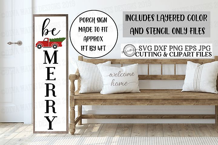 Be Merry - Christmas Red Truck Porch Sign Cutting File