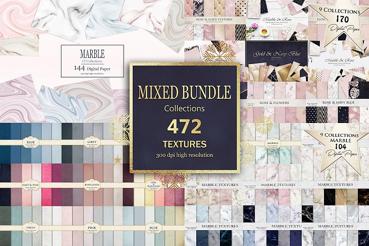 Marble Rose Gold Navy Blue Mixed Bundle 472 Textures