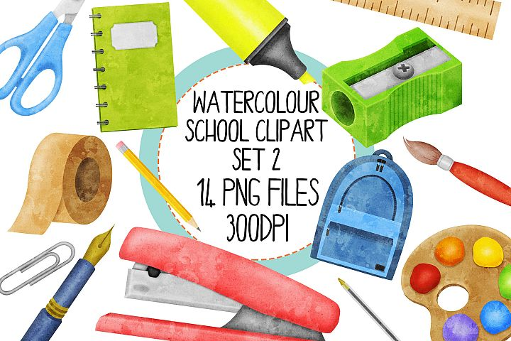 Watercolor School Clip Art Set 2