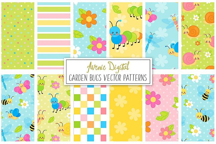 Spring Garden bugs Digital Paper and Vector Patterns