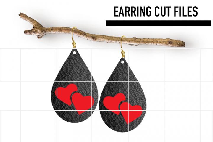 Heart Earrings Svg / Valentine Day Svg / Faux / Wood / Laser