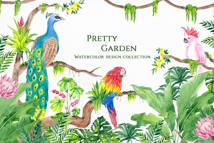 Pretty Garden. Watercolor collection