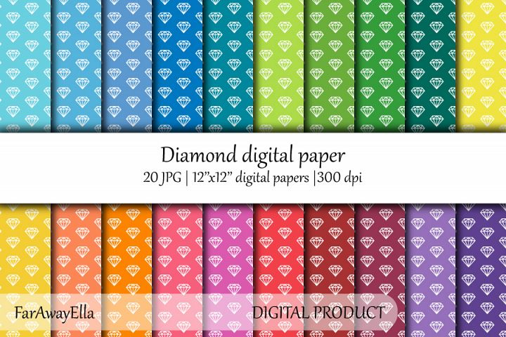 Diamond JPG digital paper | 20 seamless patterns