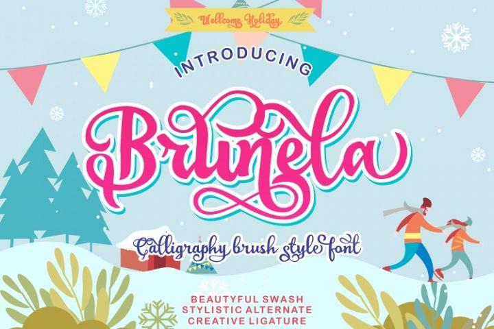 Brunela Beautyful Calligraphy brush scripts font