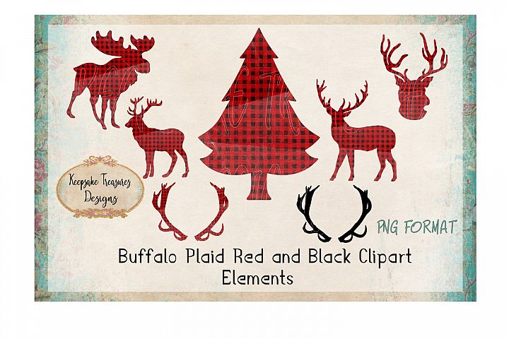 Buffalo Plaid Red and Black Deer Elements
