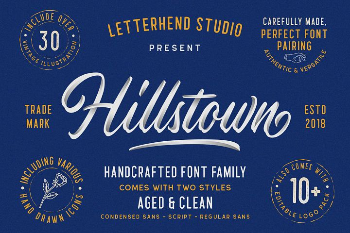 Hillstown Font Collection and EXTRA
