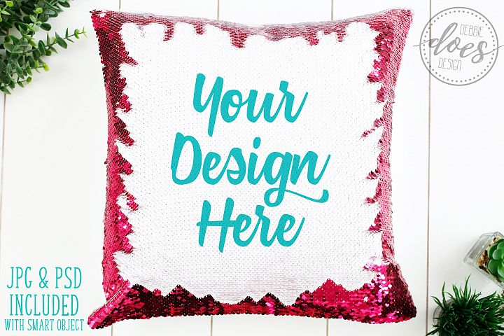 Pink Sequin Pillow Mockup with Smart Object