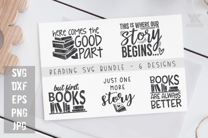 Reading SVG Bundle - 5 Book SVG Designs