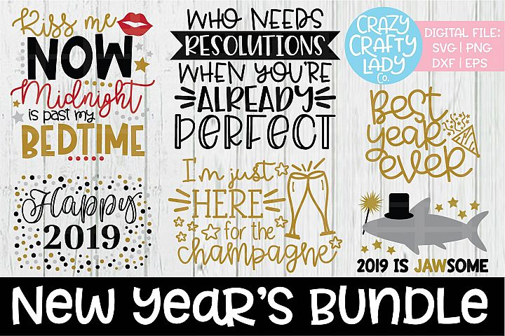 New Years Bundle SVG DXF EPS PNG Cut Files