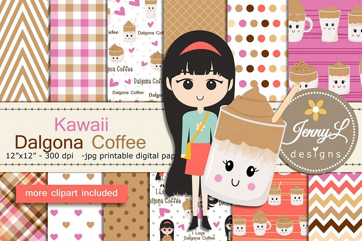 Kawaii Dalgona Coffee Digital Papers and Clipart