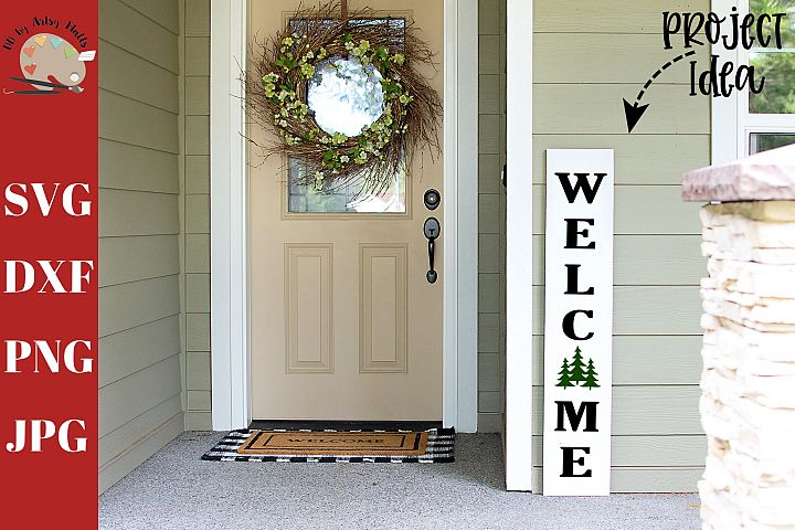Welcome Christmas Trees Front Porch Wood Sign svg