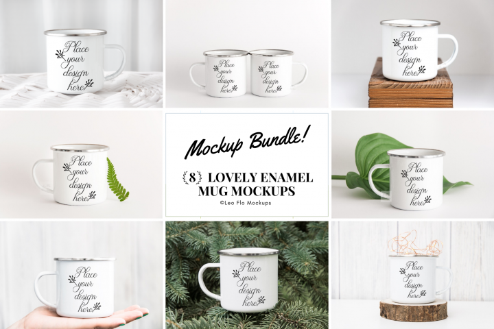 8x Enamel Bundle mockup mugs Camp tin mug rustic mockups