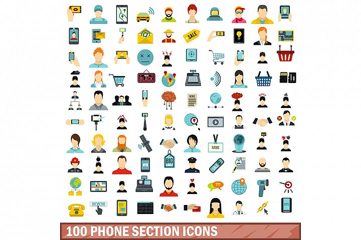100 phone section icons set, flat style