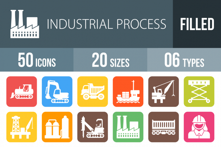 50 Industrial Process Filled Round Corner Icons
