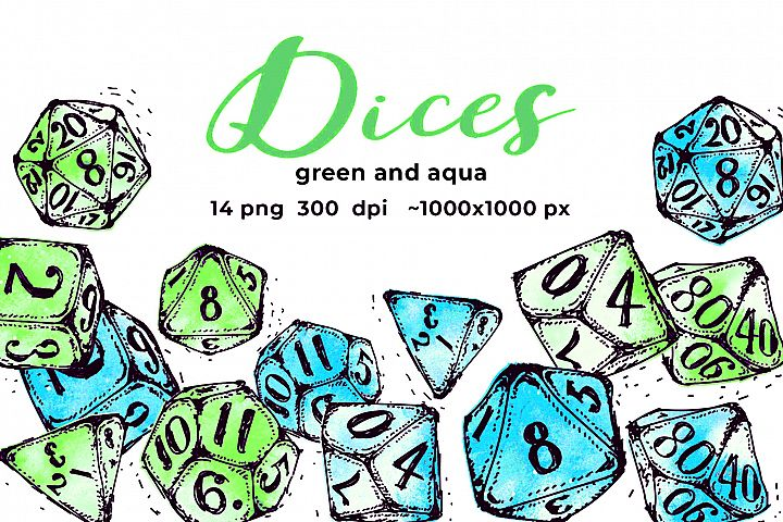 Aqua and green dices