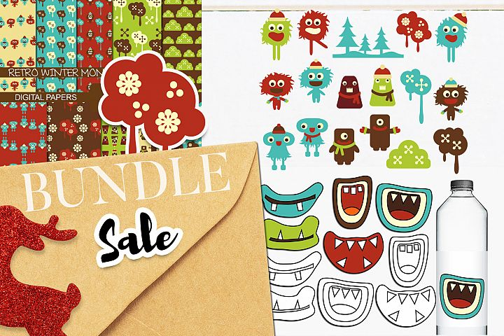 Retro Monster Clip art Illustrations Bundle