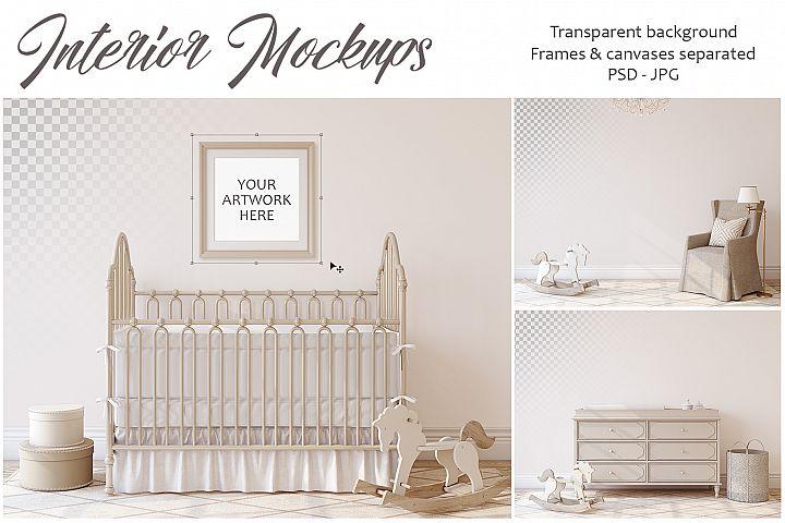 Romantic nursery. Wall&Frames Mockup.