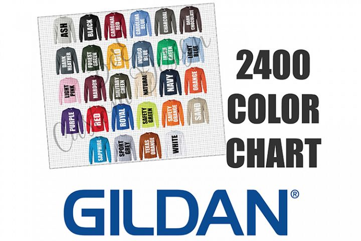 Gildan 2400 Long Sleeve T-Shirt Color Chart