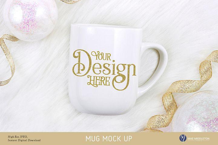 White Mug Mock up for New Year, Holiday, Celebration