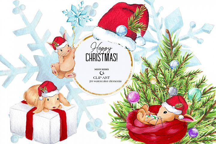 Christmas Bunny Clip Art Winter Rabbit Clipart