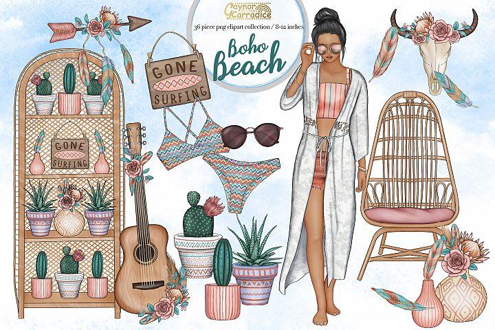 Boho Beach - summer home clipart collection