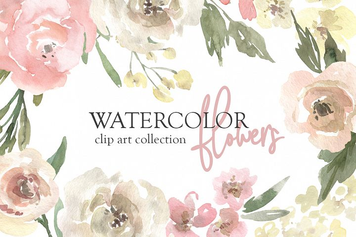 Watercolor Neutral Floral PNG Collection