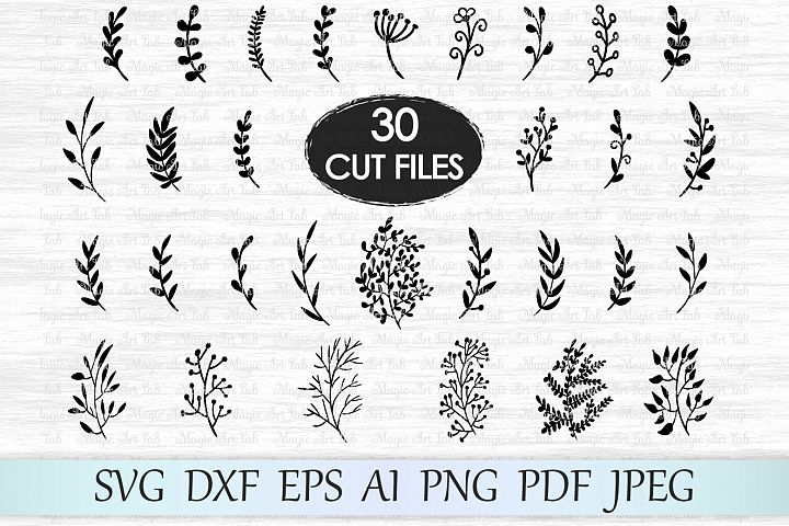 Leaf svg file, Leaves svg file, Branches svg file, Wedding invitation clipart, Hand drawn leaves, Ornament svg file, Foliage cut file, Plant