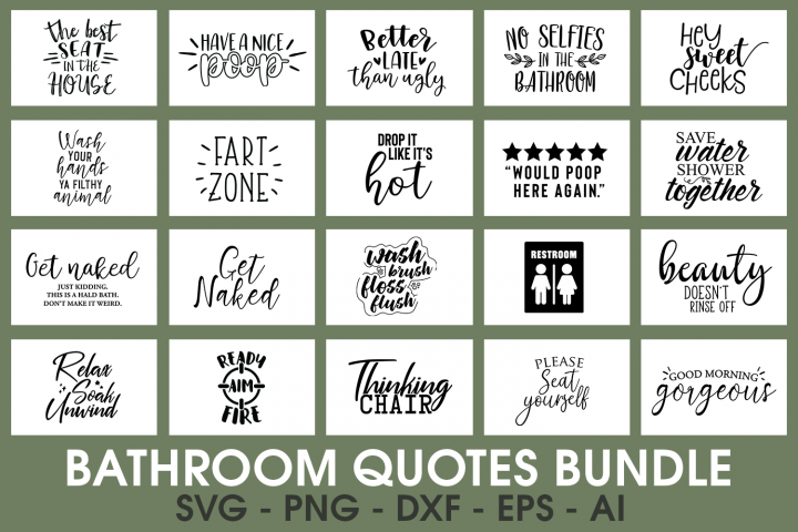 SALE! 20 Bathroom quotes bundle cut files, Bathroom svg